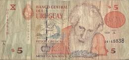 Uruguay - 5 Pesos 1998 - Série A- N° 06145838 - Usagé - - Uruguay