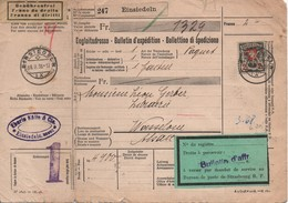 SUISSE  -  Bulletin D'expédition  2 Fr. Avec  Perforation   E . K . - Ferrocarril