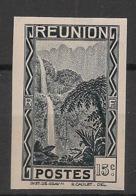 Réunion - 1933 - N°Yv. 130a - Cascade 15c Noir - Variété - Non Dentelé / Imperf. - Neuf Luxe ** / MNH / Postfrisch - Réunion (1852-1975)