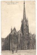 LP 80. LILLE . EGLISE St-MAURICE  CARTE AFFR AU VERSO LE 20-10-1924 . 2 SCANES - Lille