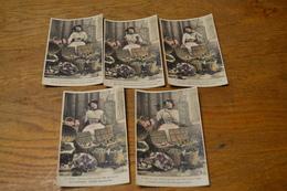Carte Postale 1906 Série De 5 Cartes Femme La Marchande De Fruit Poème Vers - Femmes