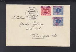 Dt. Reich Sudeten Brief Karlsbad 1938 Mit Rotem Und Blauen Aufdrucken - Besetzungen 1938-45