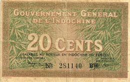 INDOCHINE FRANCAISE 20 CENTIMES BROWN MOTIF FRONT & MAN BACK SIG.14ND(1939) P86d VF READ DESCRIPTION - Banknotes