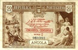 ANGOLA PORTUGUESE 50 CENTAVOS BROWN WOMAN SHIP FRONT MAN BACK  DATED 1923 P.63 READ DESCRIPTION CAREFULLY !! - Angola