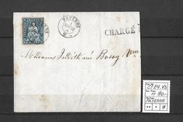 1854-1862 Helvetia (Ungezähnt) Strubel → 1862 Chargé Brief PAYERNE  ►SBK-23B4.Vb◄ - 1854-1862 Helvetia (Non-dentelés)