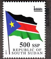 SOUTH SUDAN Surcharge Overprint Printing Trial 500 SSP OP In Black On 1 SSP Flag Stamp Südsudan Soudan Du Sud - South Sudan