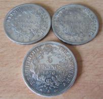 3 Monnaies En Argent 5 Francs Hercule 1875 A Et 1876 A X 2 - TB à SUP - France