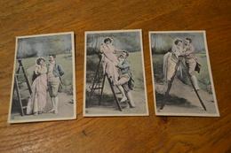 Carte Postale 1910 Série De 3 Cartes échelle D'amour Flirt Au Bord D'un Escabeau - Couples