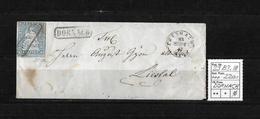 1854-1862 Helvetia (Ungezähnt) Strubel → Umschlag DORNACH Mit Brief Nach Liestal  ►SBK-23B3.III◄ - 1854-1862 Helvetia (Non-dentelés)