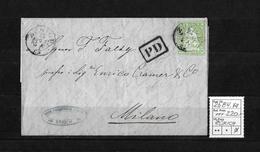 1854-1862 Helvetia (Ungezähnt) Strubel → PD-Brief (Paul Friedrich) ZÜRICH Nach Milano  ►SBK-26B4.Va◄ - Lettres & Documents