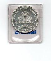 NEDERLANDSE ANTILLEN 50 GULDEN 1980 BEATRIX ZILVER UNC - Antille Olandesi