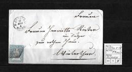 1854-1862 Helvetia (Ungezähnt) Strubel → 1857 Umschlag ZÜRICH Nach Winterthur  ►SBK-23B3m.II-IV◄ - 1854-1862 Helvetia (Non-dentelés)