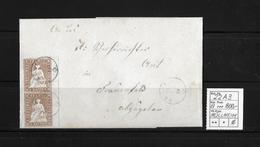 1854-1862 Helvetia (Ungezähnt) Strubel → 1854 Brief MÜLLHEIM Nach Frauenfeld  ►SBK-22A3 Im Paar Bogenrand!!!◄ - Covers & Documents