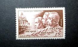 FRANCE 1951 N°898 ** (SERVICE DE SANTÉ MILITAIRE. LE VAL-DE-GRÂCE. PICQUÉ, ROUSSIN, VILLEMIN. 15F BRUN-LILAS) - Unused Stamps