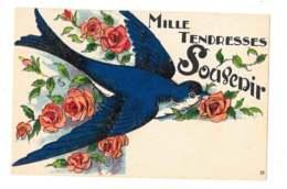 Mille Tendresses - Souvenir - Hirondelle Et Roses - 6918 - Vögel