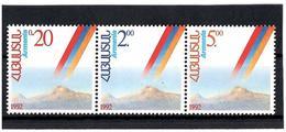 Armenia .1992 Independence (Mount Ararat). Strip Of 3v: 0.2, 2,5  Michel # 194-96 - Armenia