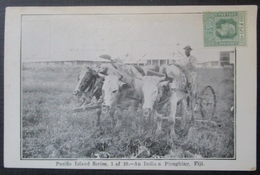 Fiji Fidji An Indian Ploughing   Cpa   Timbrée - Fidji