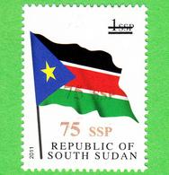 SOUTH SUDAN Surcharge Overprint ERROR Double 75 SSP On 1 SSP Flag Stamp Südsudan Soudan Du Sud - Südsudan
