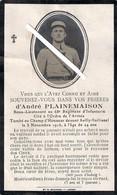 Limoges - Eyjeaux -sailly Saillissel : Image Mortuaire Soldat PLAINEMAISON André (guerre 1914/1918) 68ème R.I. - Décès