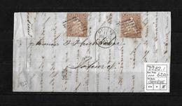 1854-1862 Helvetia (Ungezähnt) Strubel → 1855 Brief GENÈVE Nach Solothurn   ►2 X SBK-22B2.I◄ - 1854-1862 Helvetia (Non-dentelés)