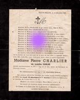 Haute Melen 1941 Mme Pierre Charlier Charlier Dcd Accidentellement à 31 Ans / Inhumation à Saint Jean Sart - Announcements
