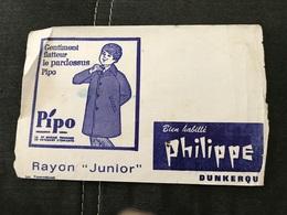 BUVARD ANCIEN VÊTEMENTS PHILIPPE DUNKERQUE PIPO - Textile & Clothing