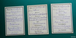 Lot  3 Menus Simples De 1896 - Menu