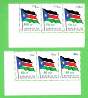 SOUTH SUDAN Surcharge Overprint ERROR On The 50 SSP OP On 1 SSP Flag Stamp: 50 SP And 500 SP Südsudan Soudan Du Sud - Zuid-Soedan