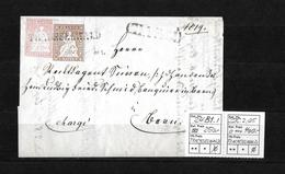1854-1862 Helvetia (Ungezähnt) Strubel → 1855 Chargè Brief, BST Trachselwald Nach Thun  ►SBK-24B1.I & 22C.2.05◄ - 1854-1862 Helvetia (Non-dentelés)