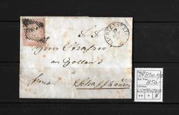 1854-1862 Helvetia (Ungezähnt) Strubel → 1856 Brief LICHTENSTEIG Nach Schaffhausen  ►SBK-24B1m.II/III◄ - 1854-1862 Helvetia (Non-dentelés)