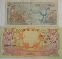 Lot De 2 Billets D'Indonésie Années 1959 Et 1961  Pick 79 Et Un Non Répertorié 1 Neuf Un B - Indonesia