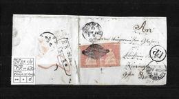 1854-1862 Helvetia (Ungezähnt) Strubel → 1856 P.P.Brieffragment CHAUX DE FONDS Nach Baden  ►SBK-24B1.II/III◄ - 1854-1862 Helvetia (Non-dentelés)