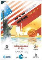 Arianespace V53 Superbe Document 21x29cm (SATCOM C3-HISPASAT 1A) - Lettres & Documents