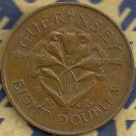GUERNSEY 8 DOUBLES LEAVES FRONT SHIELD BACK 1956 VF+ KM(?)  READ DESCRIPTION CAREFULLY !!! - Guernsey