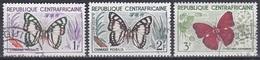 Zentralafrika Central Africa 1960 Tiere Fauna Animals Schmetterlinge Butterflies Papillion Farfalle, Mi. 5-7 Gest. - Zentralafrik. Republik