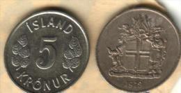 ICELAND 5 KRONUR  LEAVES  FRONT & SHIELD BACK 1978 VF/VF KM14 READ DESCRIPTION CAREFULLY !!! - Islande