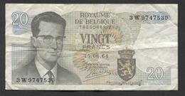 België Belgique Belgium 15 06 1964 -  20 Francs Atomium Baudouin. 3 W  9747530 - [ 6] Treasury