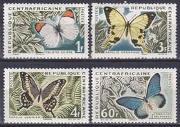 Zentralafrika Central Africa 1963 Tiere Fauna Animals Schmetterlinge Butterflies Papillion Mariposa Farfalle, Mi. 42-5** - Zentralafrik. Republik