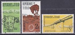 Tschad Tchad Chad 1961 Tiere Fauna Animals Landschaften Landscapes Gazelle Löwen Lions Flusspferd, Aus Mi. 69-1 Gest. - Tschad (1960-...)