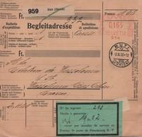 SUISSE  -  Bulletin D'expédition  , Oblitération  Mécanique  Du  02 - 11 - 1932 . - Railway