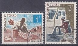 Tschad Tchad Chad 1970 Wirtschaft Economy Handwerk Handicrafts Berufe Professions Gerber Färber, Mi. 331-2 Gest. - Tschad (1960-...)