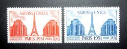 FRANCE 1951 N°911 ET 912 ** (NATIONS-UNIES PARIS 1951) - France