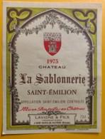 10499 - Château La Sablonnerie 1975,1976,1978  & 1979  Saint-Emilion 4 étiquettes - Bordeaux