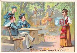 Chromos Réf. T 18-110. Biscuits Lu - Soirée Offerte à La Flotte - Marins, Uniformes, Musique, Contrebasse - Lu