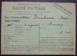 1914 Carte En Franchise Militaire De Joseph Duchesne Régiment D'infanterie à Annecy - Marcophilie (Lettres)