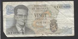 België Belgique Belgium 15 06 1964 -  20 Francs Atomium Baudouin. 3 Y 2774985 - [ 6] Schatzamt