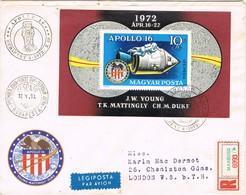 32614. Carta Aerea Certificada Impresos MABEOSZ (Hungria) 1972. Apollo 16 Stamp, Space - Hungría