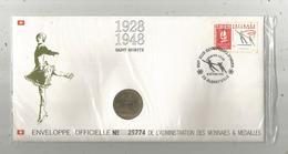 """Enveloppe Officielle """"timbre Médaille"""" Premier Jour,J.O. D'hiver ,1928 , SAINT MORITZ ,4 Scans ,  Frais Fr : 1.95 E - Professionnels / De Société"""