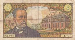 Billet 5  Francs  Pasteur 7-12-1967 - 5 F 1966-1970 ''Pasteur''