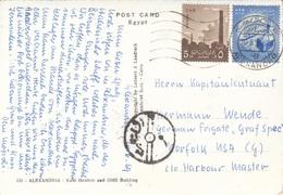 U.A.R.-EGYPT 1958? - 2 Sondermarken Auf Ak ALEXANDRIA, Gel.v.Alexandria > USA - Ägypten